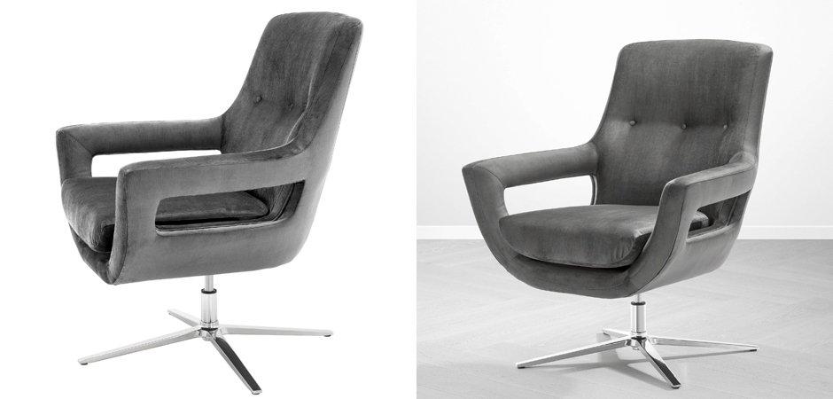 Кресло Eichholtz Swivel Chair Flavio Grey  - фото 3