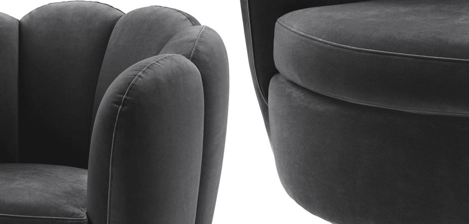 Кресло Eichholtz Swivel Chair Mirage dark grey  - фото 2