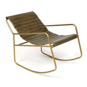 Кресло-качалка Industrial buffalo leather rocking chair