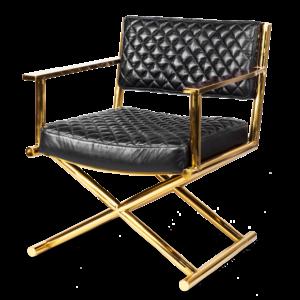 Кресло кожаное Director gold and black