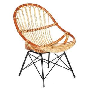 Кресло Rattan Wicker Chair Red Carcass