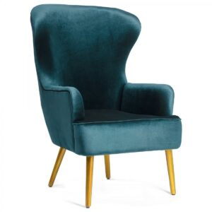 Кресло Wingback Dining Chair turquoise velor