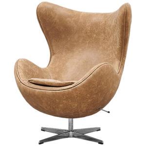 Кресло яйцо Egg Chair коричневая винтажная кожа  designed by Arne Jacobsen