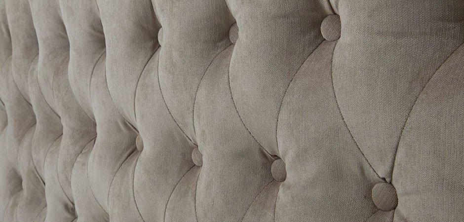 Кровать двуспальная с изголовьем бежевая Button   - фото 3