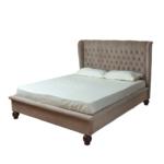 Кровать двуспальная с изголовьем бежевая Button   - фото 1