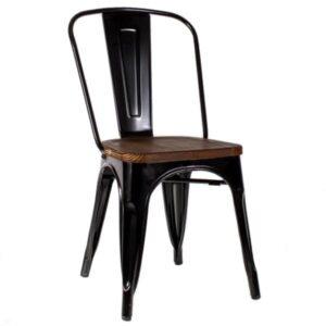 Кухонный стул Tolix Chair Wood Black  designed by Xavier Pauchard  in 1934
