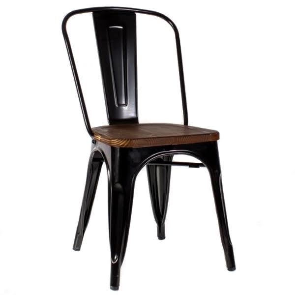 Кухонный стул Tolix Chair Wood Black  designed by Xavier Pauchard  in 1934 - фото 1