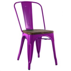 Кухонный стул Tolix Chair Wood Purple Пурпурный  designed by Xavier Pauchard  in 1934
