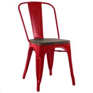 Кухонный стул Tolix Chair Wood Red Красный  designed by Xavier Pauchard  in 1934