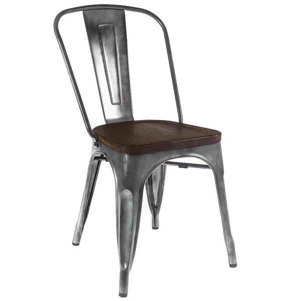Кухонный стул Tolix Chair Wood Zinc  designed by Xavier Pauchard  in 1934 - фото 1