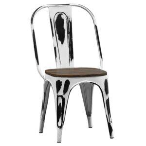 Кухонный стул Tolix Marais Chair Vintage White Wood  designed by Xavier Pauchard  in 1934