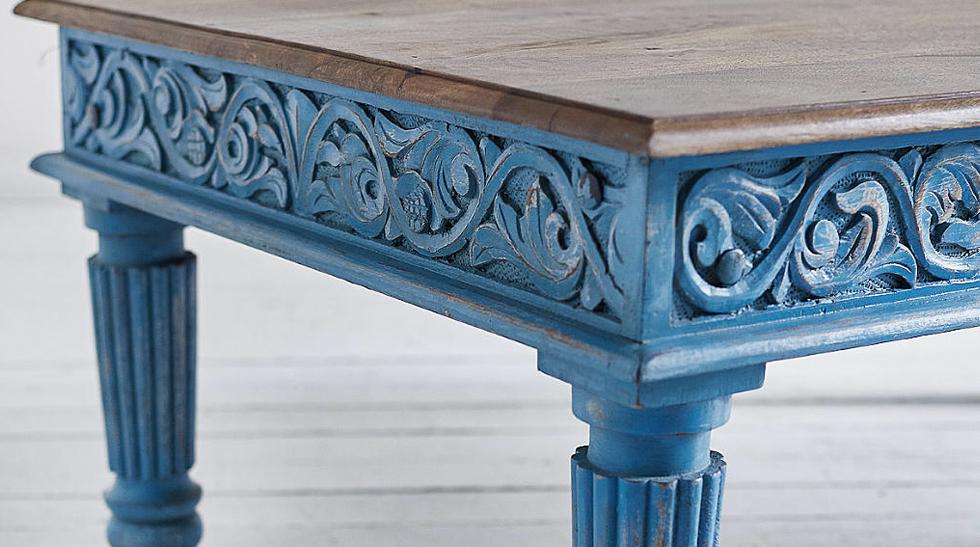 Кофейный стол из массива манго Голубой Blue Mango  - фото 2
