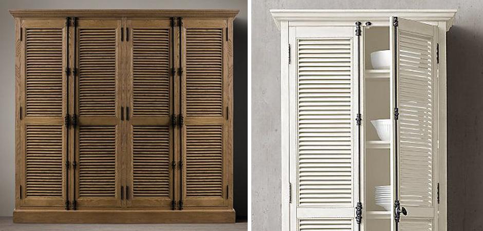 RH Shutter Double-Door Cabinet Шкаф с реечными дверями светлый дуб   - фото 3