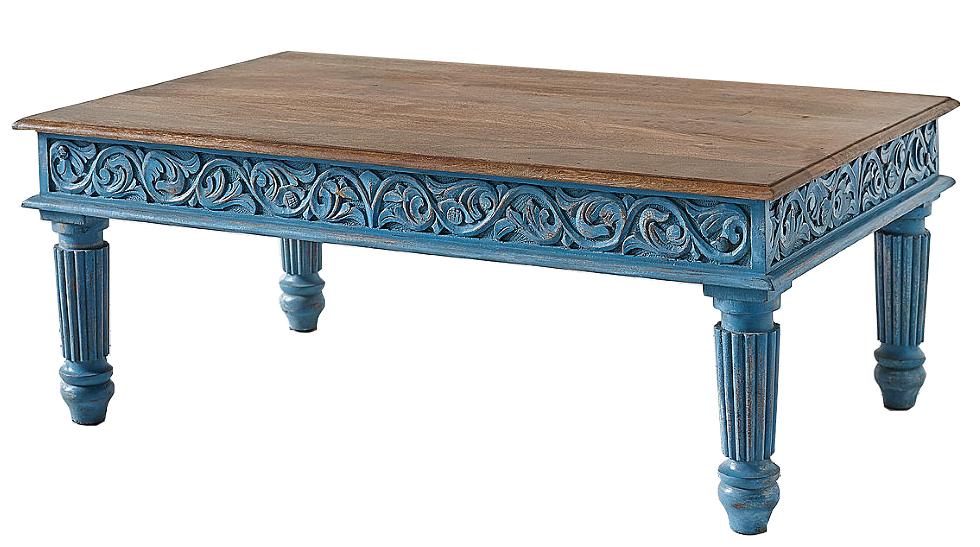 Кофейный стол из массива манго Голубой Blue Mango  - фото 3