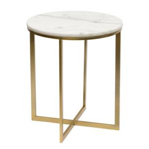 Приставной стол Round Table Marble white
