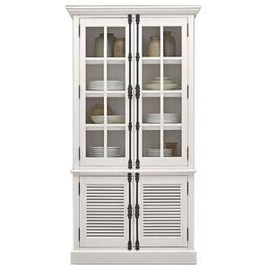 RH Shutter Double-Door Sideboard & Glass Hutch Буфет с реечными дверями светлый дуб
