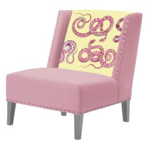 FUN Armchair Snakes Pink-Yellow  Дизайнерское кресло с цветным принтом