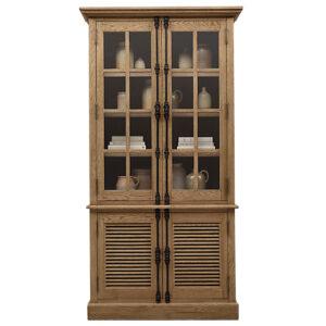 RH Shutter Double-Door Sideboard & Glass Hutch Буфет с реечными дверями дуб