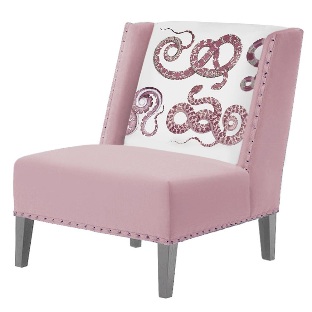 FUN Armchair Snakes Pink-White Дизайнерское кресло с цветным принтом   - фото 1