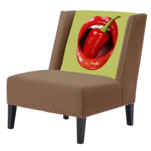"""FUN Armchair """"Chili Pepper"""" Beige Дизайнерское кресло с цветным принтом"""
