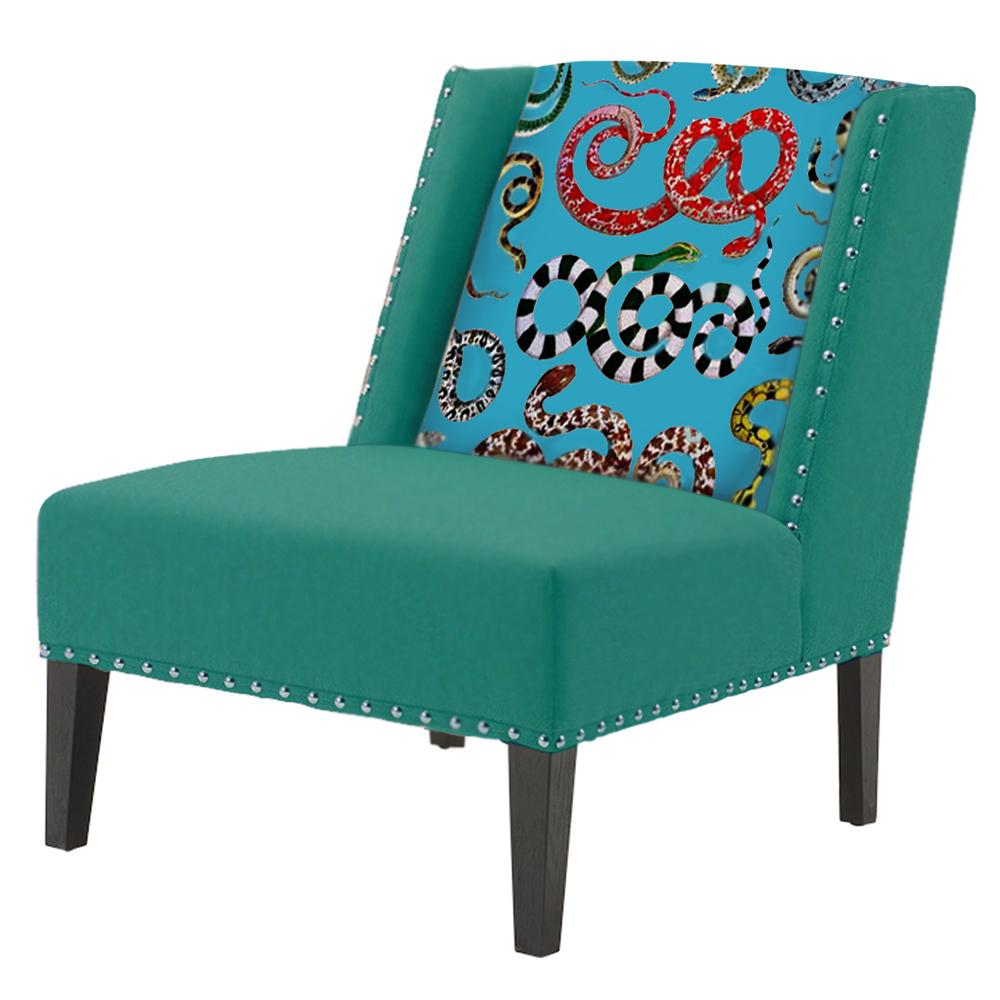 FUN Armchair Snakes Turquoise Дизайнерское кресло с цветным принтом  - фото 1