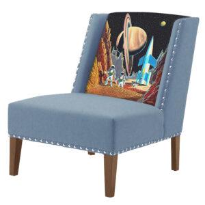 FUN Armchair Retro Futurism Blue Дизайнерское кресло с цветным принтом