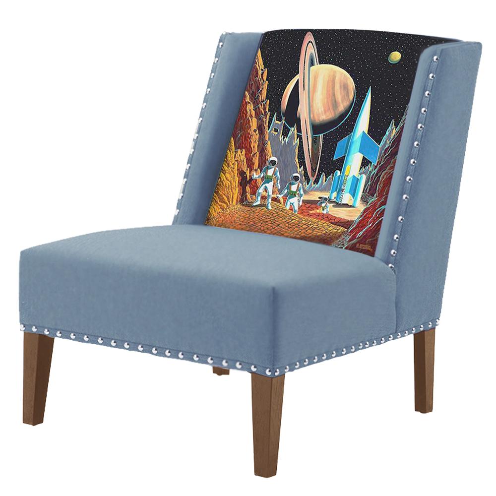 FUN Armchair Retro Futurism Blue Дизайнерское кресло с цветным принтом  - фото 1