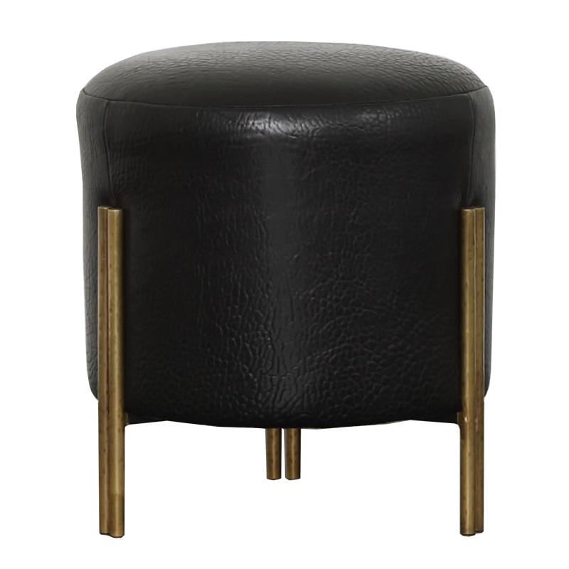 Пуф из черной кожи MELANGE FOOT STOOL  designed by Kelly Wearstler  - фото 1