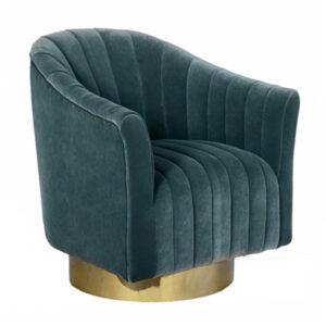 Кресло в велюровой синей обивке Toronto Armchair