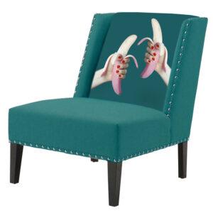 FUN Armchair Two Bananas Turquoise Дизайнерское кресло с цветным принтом