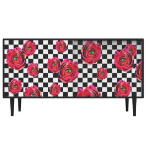 Комод Toiletpaper Roses on check Retro Furniture with a Surreal Mood