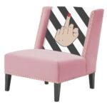 """FUN Armchair """"fuck off"""" pink  Дизайнерское кресло с цветным принтом  - фото 1"""