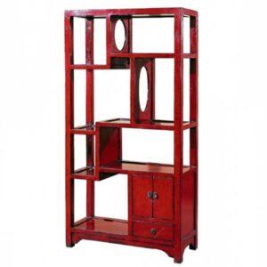 Красный китайский стеллаж countless treasures