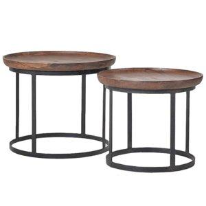 Набор из 2-х кофейных столиков из массива тика