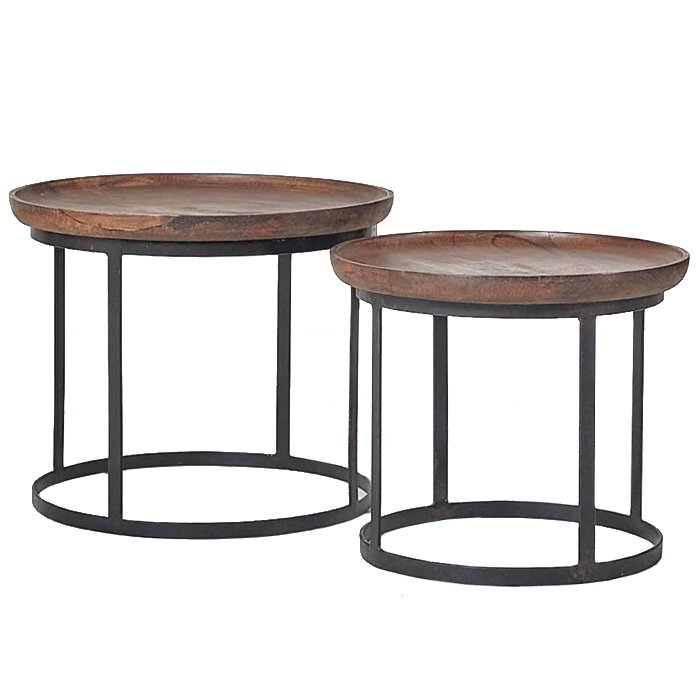 Набор из 2-х кофейных столиков из массива тика  - фото 1