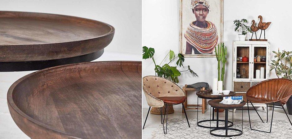 Набор из 2-х кофейных столиков из массива тика  - фото 2