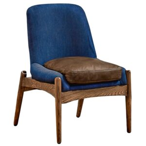 Кресло NAXOS CHAIR BLUE Leather and linen
