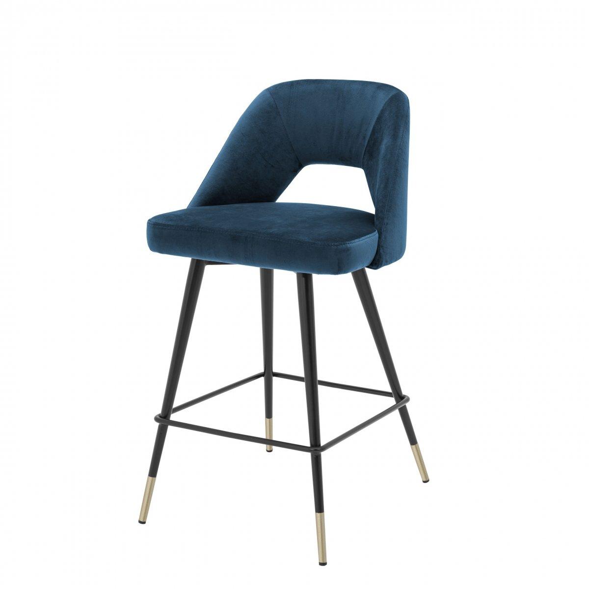 Полубарный стул Eichholtz Counter Bar Stool Avorio Blue  - фото 1