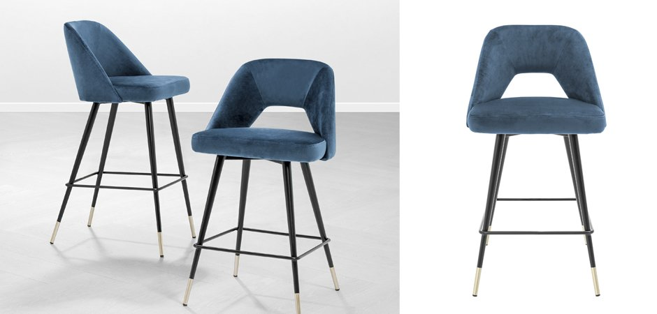 Полубарный стул Eichholtz Counter Bar Stool Avorio Blue  - фото 2