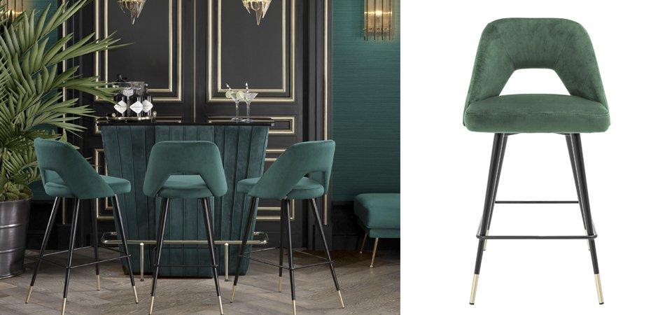 Полубарный стул Eichholtz Counter Bar Stool Avorio Green  - фото 2