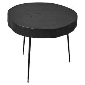 Приставной стол Saw Cut Black Wood Side Table