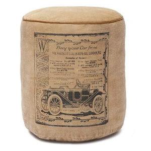 Пуф Vintage buffalo leather pouf beige