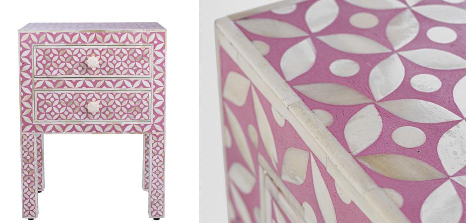 Розовая прикроватная тумба BONE INLAY BEDSIDE CABINET  - фото 2