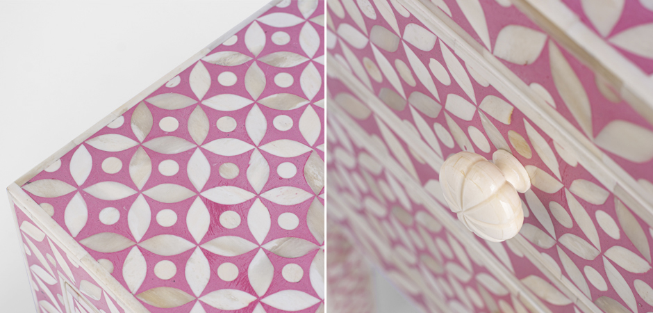 Розовая прикроватная тумба BONE INLAY BEDSIDE CABINET  - фото 4