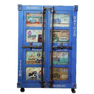 Синяя тумбочка контейнер Blue chest of drawers vintage Sea Container