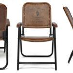 Складной кожаный стул Industrial Folding buffalo leather chair   - фото 2