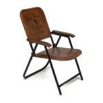 Складной кожаный стул Industrial Folding buffalo leather chair   - фото 1
