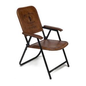 Складной кожаный стул Industrial Folding buffalo leather chair