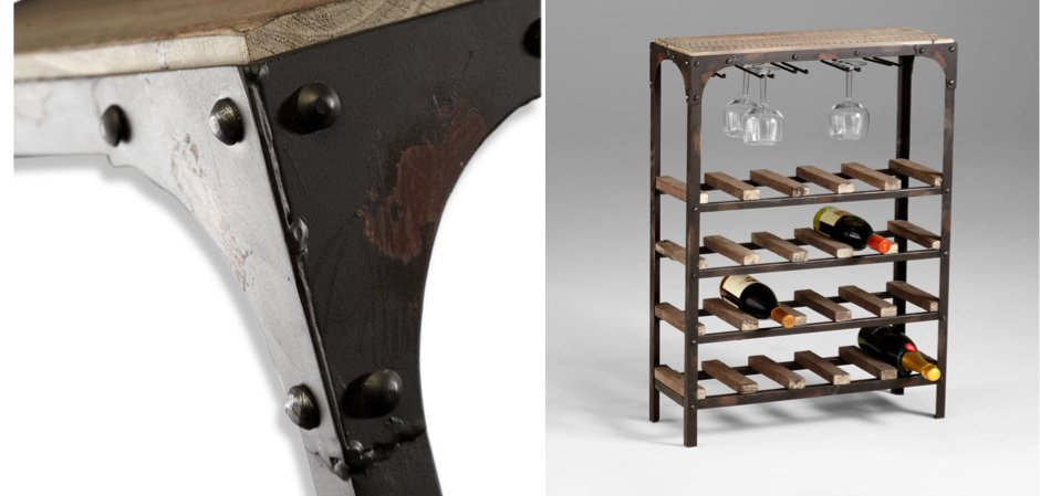 Стеллаж Industrial Metal Rust Console Wine Rack   - фото 2