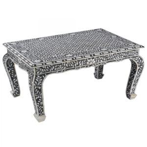 Стол черный отделка кость BONE INLAY Bone Inlay Coffee Table
